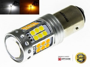 Żarówka Led P21/5W Bay15d 1157 42x SMD 3030 DUAL COLOR 18/24 CW OPTICON PREMIUM