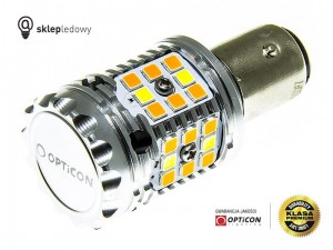 Żarówka Led P21/5W Bay15d 1157 40x SMD 3030 DUAL COLOR 10/30 CW OPTICON PREMIUM