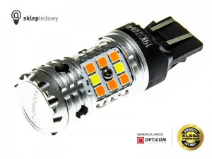 Żarówka Led W21/5W 7443 T20 32x SMD 3030 DUAL COLOR 8/24 CW OPTICON PREMIUM