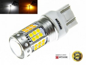 Żarówka Led W21/5W 7443 T20 42x SMD 3030 DUAL COLOR 18/24 CW OPTICON PREMIUM