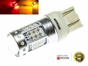 Żarówka Led W21/5W 7443 T20 42x SMD 3030 DUAL COLOR 18/24 RED OPTICON PREMIUM